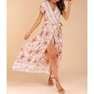 Beige Earth Tones Boho Floral Side Tie Maxi Dress